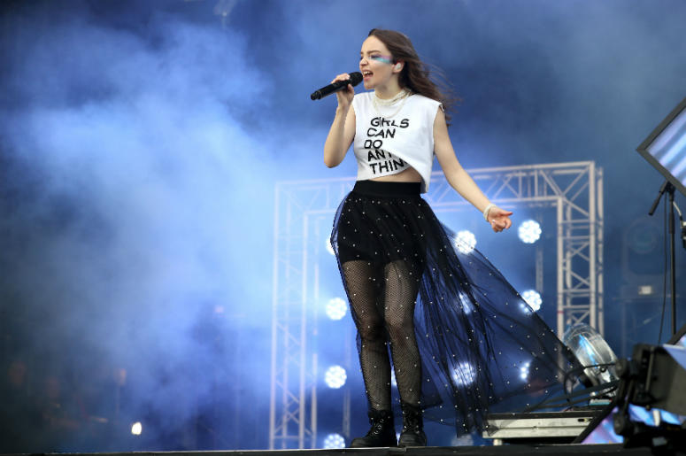 Lauren Mayberry from CHVRCHES performs on the main stage during the TRNSMT Festival on Glasgow Green in Glasgow.