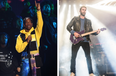Travis Scott performs on stage at the 2018 MTV Video Music Awards held at Radio City Music Hall in Los Angeles / Adam Levine of Maroon 5 performs on Day One of BottleRock Napa Valley 2017