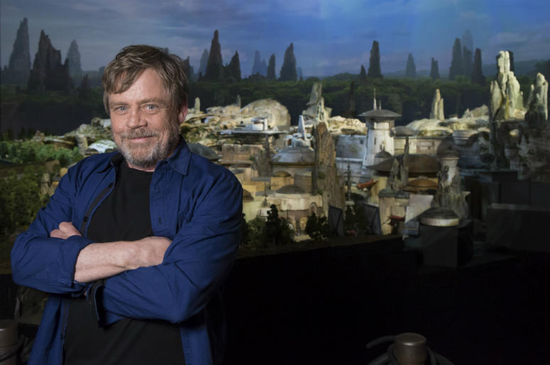 actor Mark Hamill visits Galaxy's Edge, the new Star Wars-themed land
