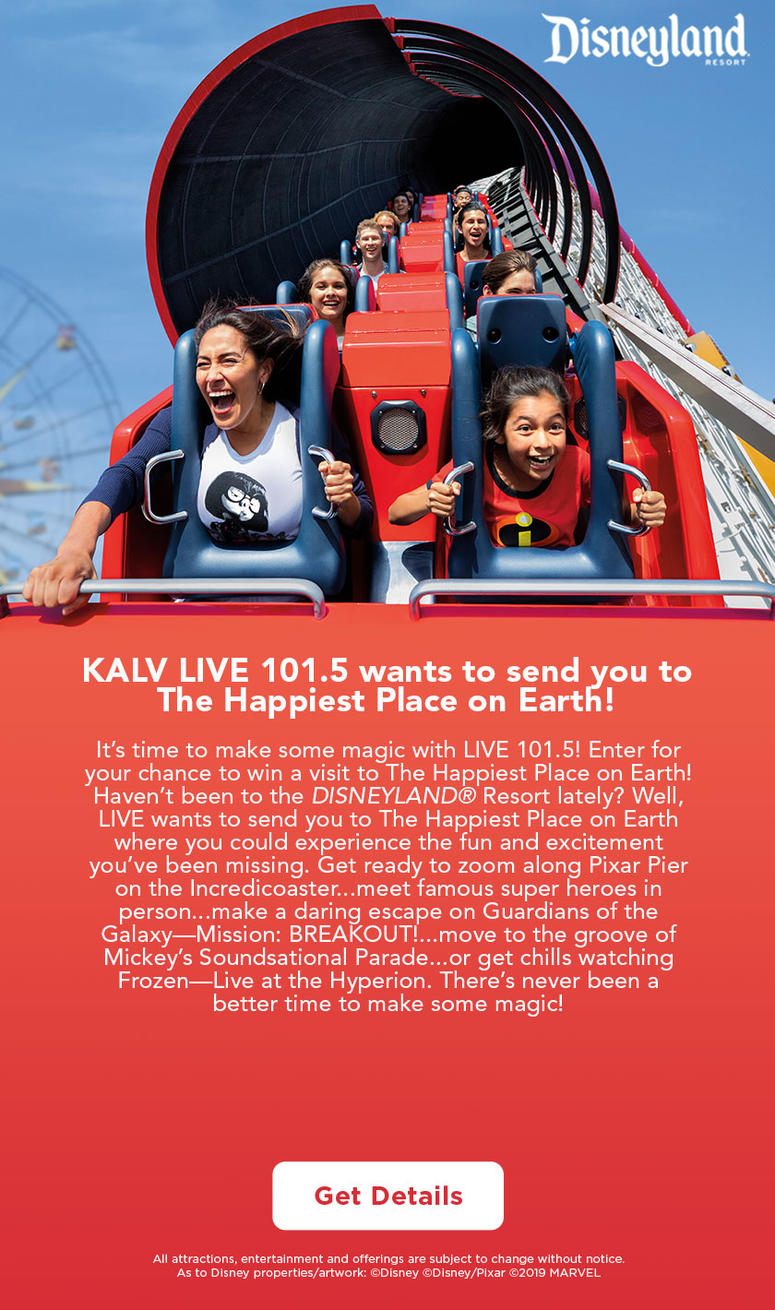 KALV LIVE 101.5 wants to send you to The Happiest Place on Earth!