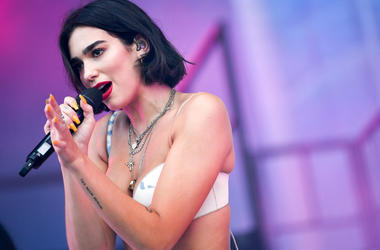 Dua Lipa performs at the Bonnaroo Music and Arts Festival.