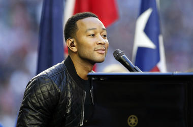 John Legend performs before Super Bowl XLIX between the New England Patriots and the Seattle Seahawks at University of Phoenix Stadium.