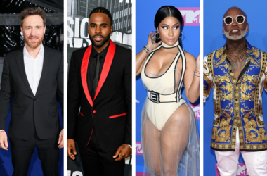 David Guetta attends The Global Awards, a brand new awards show hosted by Global, the Media & Entertainment group, at London's Eventim Apollo Hammersmith. Jason Derulo on the red carpet during the CMT Music Awards at Music City Center. Nicki Minaj arrivin