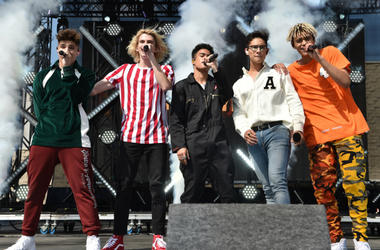 Prettymuch performs onstage at FOX's 'Teen Fest 2017' at Clinton Middle School on August 13, 2017 in Los Angeles, California.