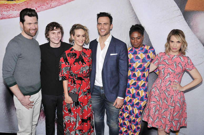 """Billy Eichner, Evan Peters, Sarah Paulson, Cheyenne Jackson, Adina Porter and Leslie Grossman at the """"American Horror Story: Cult"""" Event"""