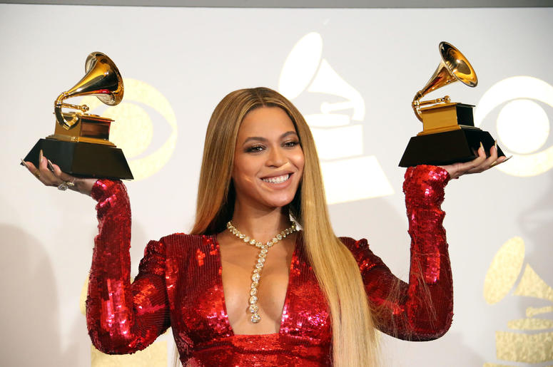 Beyonce Knowles poses during the 59th Annual GRAMMY Awards