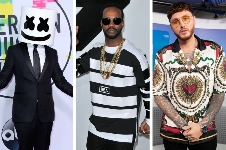 """Marshmello at the 2017 American Music Awards at Microsoft Theater on November 19, 2017 in Los Angeles, California. / Juicy J arrives at the """"Furious 7"""" World Premiere held at the TCL Chinese Theatre IMAX /James Arthur in the studio in Wembley Stadium."""