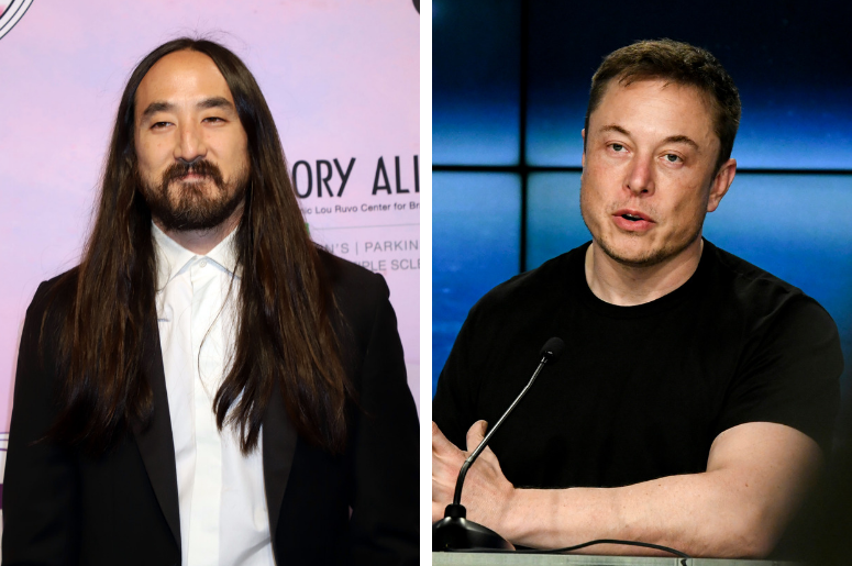 """Steve Aoki attending the Keep Memory Alive's 22nd Annual """"Power of Love"""" Gala in Las Vegas. / Elon Musk CEO of SpaceX, speaks to the media during a press conference after the Falcon Heavy Launch."""