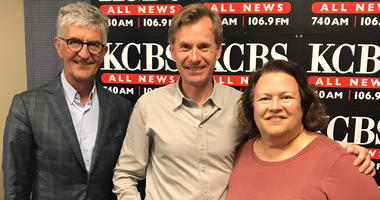 """KCBS morning anchors Stan Bunger and Susan Leigh Taylor flank UC Professor Morten Hansen as they record Episode 1 of the """"10 Questions With Stan and Susan"""" podcast."""