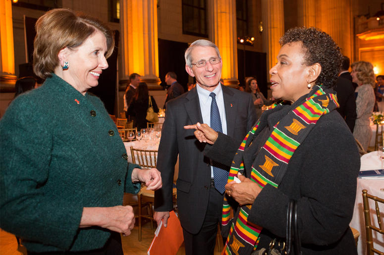 WASHINGTON, DC - DECEMBER 2: L to R, Rep. Nancy Pelosi (D-CA), U.S. House Minority Leader, Dr. Anthony Fauci, an immunologist and leading HIV/AIDS researcher, and Rep. Barbara Lee (D-CA), talk at the 10th anniversary leadership gala of the Friends Of The