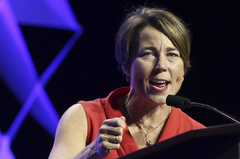 In this June 1, 2018 file photo, Massachusetts Attorney General Maura Healey speaks at the 2018 Massachusetts Democratic Party Convention in Worcester, Mass. Massachusetts has sued the maker of OxyContin over the deadly opioid crisis and has become the fi