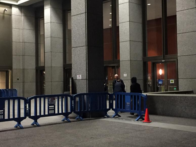 Barricades outside PG&E headquarters in San Francisco