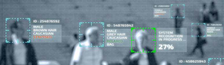 Closeup on Simulation of a screen of cctv cameras with facial recognition