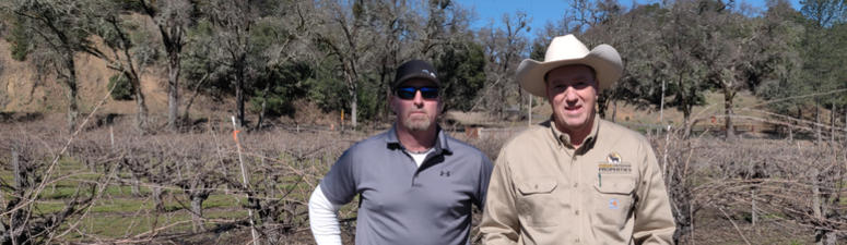 Vineyard manager Brian White and California Outdoor Properties owner/ broker Todd Renfrew.at Cole Ranch in Mendocino County.