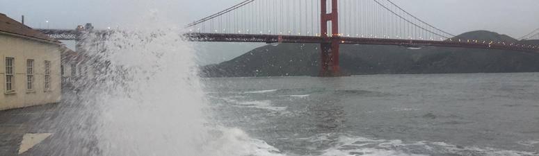 Surf on San Francisco waterfront