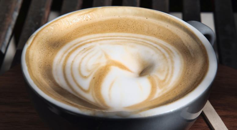 This Thursday, March 29, 2018 photo shows a cup of coffee at a cafe in Los Angeles. A 10-year study released on Monday, July 2, 2018 shows that coffee drinkers had a lower risk of death than abstainers, including those who downed at least eight cups daily