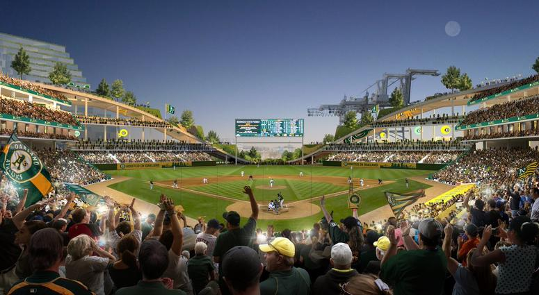The Oakland Athletics released renderings of a stadium they would like to build near the Oakland waterfront at the Howard Terminal.