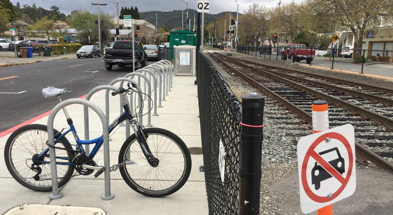 The bike rack at the San Rafael SMART station.