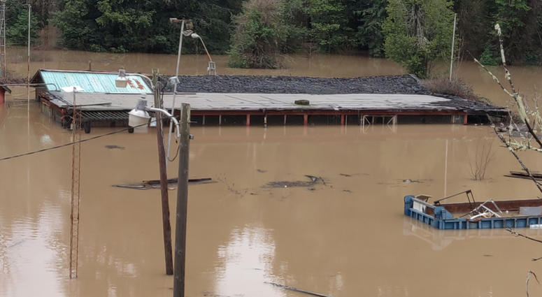 The Russian River in Guernville in Sonoma County threatened to flood on Feb. 14, 2019.