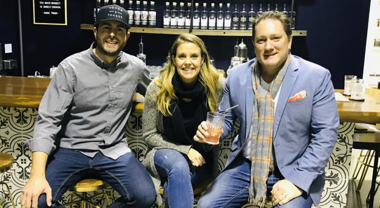 Joshua and Sarah Opatz of Young & Yonder Spirits with Liam (Photo credit: Foodie Chap/Liam Mayclem)
