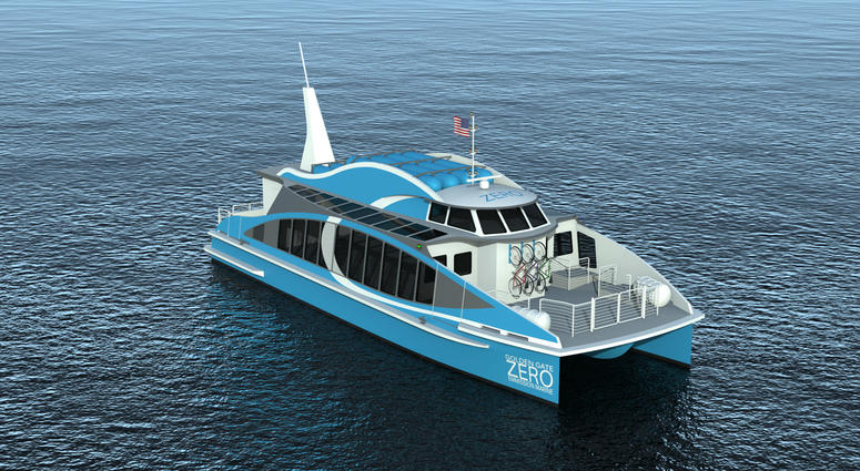 This rendering depicts the Water-Go-Round, a ferry that will cruise the San Francisco Bay using technology similar to a hybrid car.