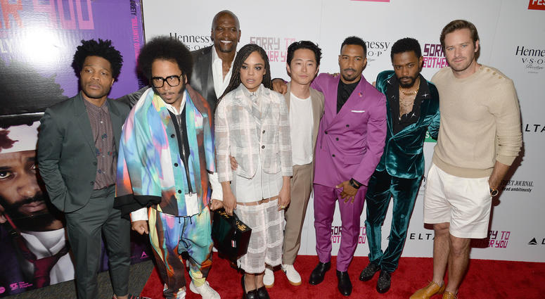 "Cast members of ""Sorry To Bother You"" at a screening of the film on June 20, 2018 in New York."