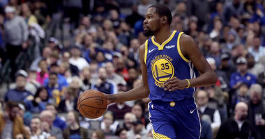 Jan 13, 2019; Dallas, TX, USA; Golden State Warriors forward Kevin Durant (35) dribbles during the game against the Dallas Mavericks at American Airlines Center. Mandatory Credit: Kevin Jairaj-USA TODAY Sports