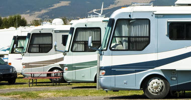Recreational vehicles parked in a campground