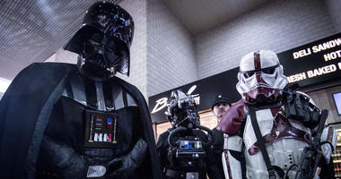 People dressed as Darth Vader and Stormtroopers during the MCM London Comic Con at ExCel London. (Photo by PA Images/Sipa USA) *** US Rights Only