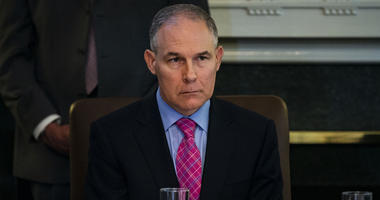 Scott Pruitt, administrator of the Environmental Protection Agency (EPA), listens as U.S. President Donald Trump speaks about the hostages released from North Korea, during a Cabinet meeting in the Cabinet Room of the White House, on Wednesday, May 9, 201