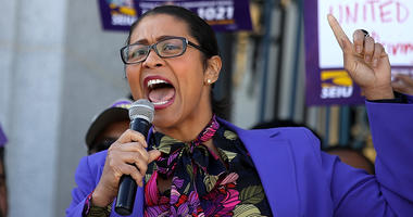 SAN FRANCISCO, CA - FEBRUARY 26: San Francisco Board of Supervisors President London Breed speaks to union members during a rally outside of San Francisco City Hall on February 26, 2018 in San Francisco, California. Hundreds of union members held a rally