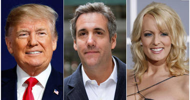 This combination photo shows, from left, President Donald Trump, attorney Michael Cohen and adult film actress Stormy Daniels. Cohen has been ordered to appear in federal court in New York, Monday, April 16, 2018, for arguments over last week's raid of hi