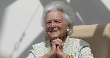 FILE - In a Thursday, Aug. 22, 2013, file photo, former first lady Barbara Bush listens to a patient's question during a visit to the Barbara Bush Children's Hospital at Maine Medical Center in Portland, Maine. A family spokesman said Sunday, April 15, 20