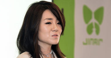 In this June 27, 2014, photo, Korean Air senior Vice President Cho Hyun-min, also known as Emily Cho, speaks during a press conference in Seoul, South Korea. Korean Air Lines said Monday, April 16, 2018, it has suspended Cho from her marketing work after
