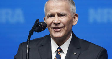 In this May 4, 2018 photo, former U.S. Marine Lt. Col. Oliver North speaks before giving the Invocation at the National Rifle Association-Institute for Legislative Action Leadership Forum in Dallas. The NRA announced today that North will become President