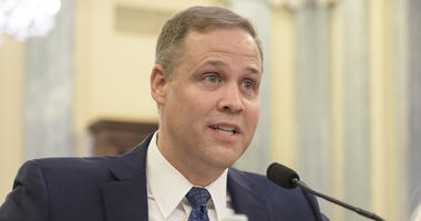 In this Wednesday, Nov. 1, 2017 photo provided by NASA, Rep. James Bridenstine, R-Okla., nominee for administrator of NASA, testifies at his nomination hearing before the Senate Committee on Commerce, Science, and Transportation in the Russell Senate Offi
