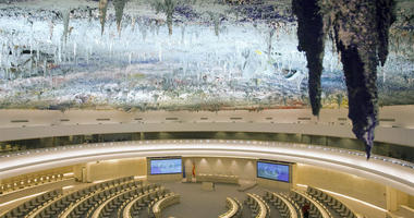 This is a Tuesday, Nov. 8, 2008 file photo, showing a general view of the Human Rights Room (Room XX) at the European headquarters of the United Nations in Geneva, Switzerland. Diplomats say the United States is about to quit the United Nation's main huma