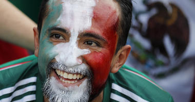 A Mexico's football fan smiles ahead of the group F match between Germany and Mexico at the 2018 soccer World Cup in the Luzhniki Stadium in Moscow, Russia, Sunday, June 17, 2018.