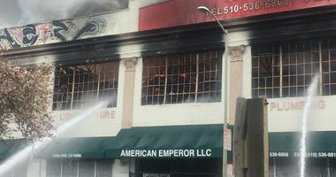 The American Emperor warehouse in Oakland caught fire on April 1, 2019.