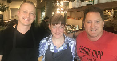 Chefs Angela Pinkerton & David Nayfeld with Liam (Photo credit: Foodie Chap/Liam Mayclem)