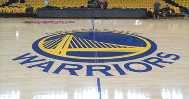 Center court at Oracle Arena, the home of the Golden State Warriors