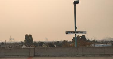 Smoky skies seen from West Oakland BART station