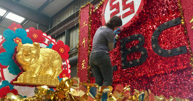 Floats for the Chinese New Year parade in San Francisco are under construction in a waterfront warehouse on Feb. 19, 2019.