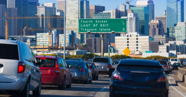 Freeway traffic from Cesar Chavez Street in San Francisco to the Yerba Buena Island Tunnel is the most congested segment of the Bay Area, according to an annual study.