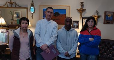 Mataresa Martinez, Michael Rodriguez, Andre Blakely and Annette Revas, allege that they've suffered emotional distress after their employer at a seniors home in Santa Rosa blamed workers for abandoning residents during the Tubbs Fire.