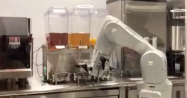 Bev, a robot barista, makes drinks at the Bbox cafe in Berkeley.