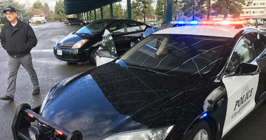 The Fremont police department added an all-electric Tesla to its fleet of patrol cars.