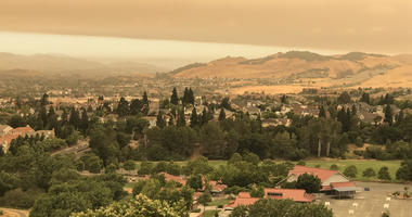 Smoke from Yolo County Fire drifting over Vallejo