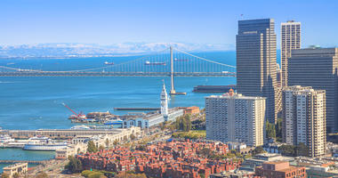 A view of the Embarcadero, Ferry Building and Bay Bridge in San Francisco.
