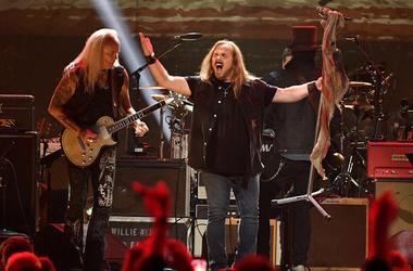 Members of Lynyrd Skynyrd perform during the Merle Haggard Tribute concert